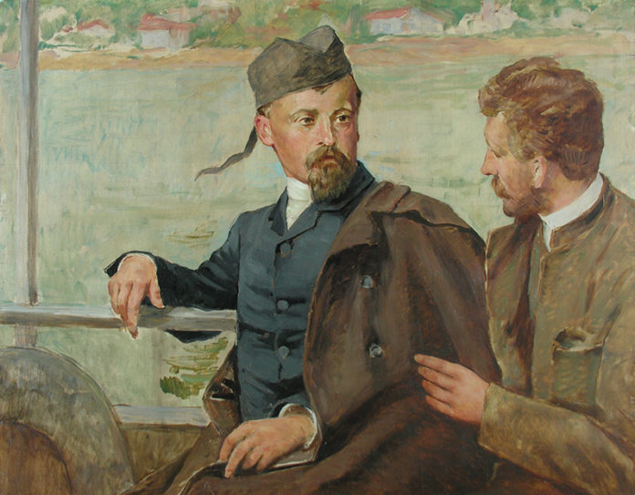 """Kazimierz Pochwalski, """"Henryk Sienkiewicz i Kazimierz Pochwalski na statku"""""""